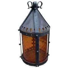 Large Arts and Crafts Iron Lantern with Ribbed Amber Shade