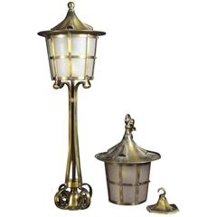 An Arts and Crafts Copper Stair Post Lantern with Matching Hall Lantern