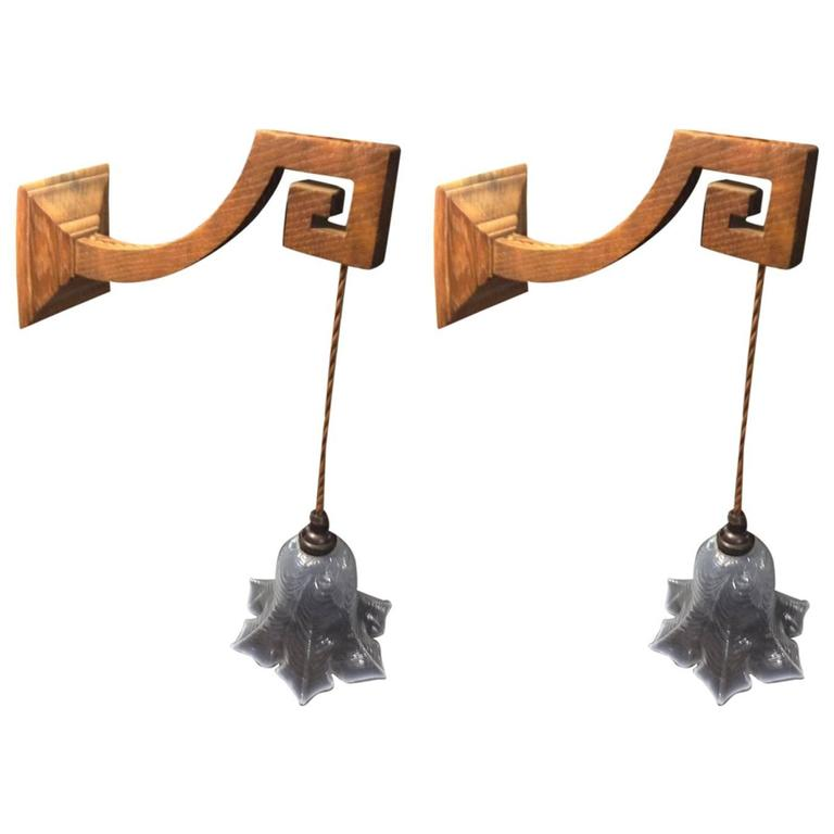Good Quality Pair of Arts and Crafts Oak Wall Lights with Greek Key Details. For Sale at 1stdibs