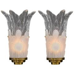 Pair of Deco-Style Frosted and Clear Glass Sconces