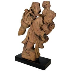 Antique Hand-Carved Wood Statue of Young Girl with Basket, 19th Century, China