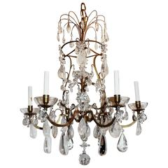 Wonderful French Bronze Baguès Gilt Pagoda Form Rock Crystal Chandelier Fixture