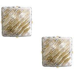 Pair Square Hillebrand Murano Glass Brass Mirror Vanity Sconces, 1960