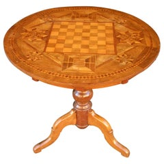 19th Century Italian Walnut Inlaid Chess Game Tilt Top Table