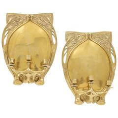 Pair of Art Nouveau Brass Candle Sconces