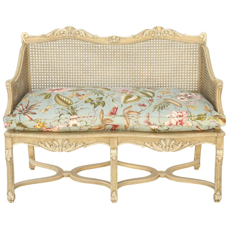 Painted Caned Regence Style Closed Arm Settee