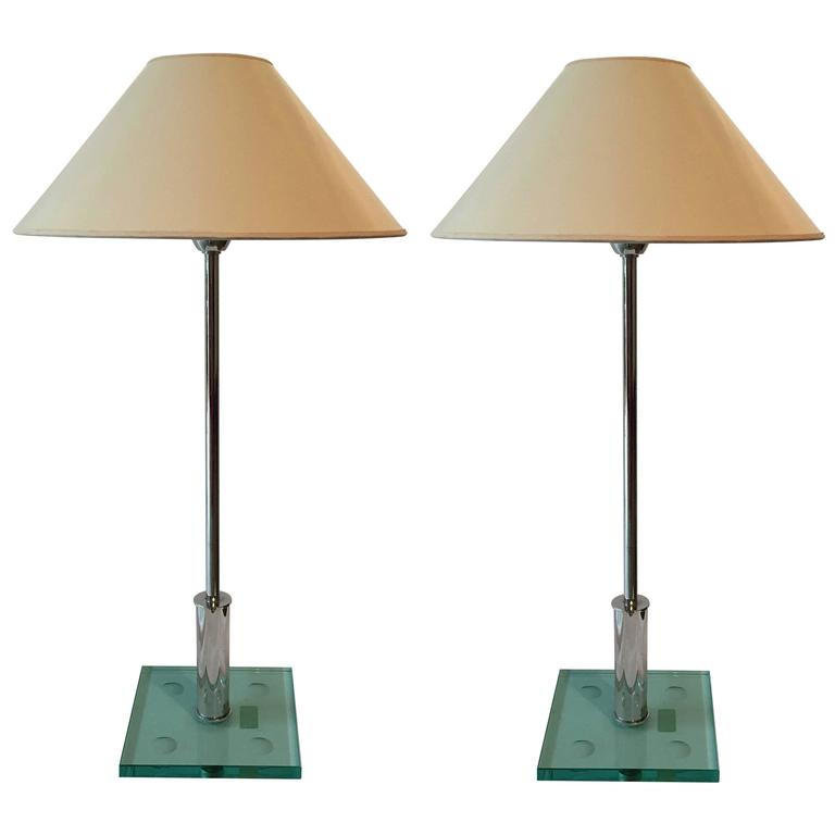 Pair of Elegant Table Lamps, Etched Glass Base, Manner of Fontana D'arte