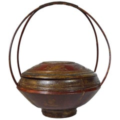 Antique 19th Century Chinese Hand-Carved Wooden Grain Basket with Bamboo Handle