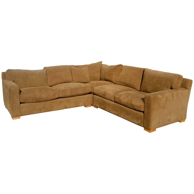 Nutmeg Suede Sectional For Sale
