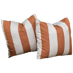 Pair of Orange and White Pillows