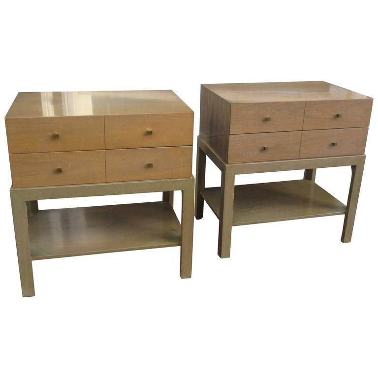 Mid Century Nightstands In Bleached Walnut By Albert Of Indiana 1
