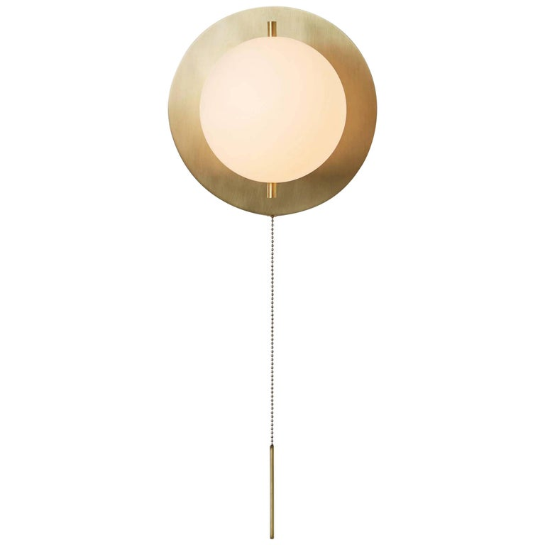 Workstead Signal Sconce in Brass with Blown Glass Globe and Brass Pull Chain For Sale