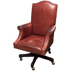 Vintage Ruby Leather Desk Chair