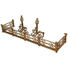 Gilt Iron Fireplace Surrounding and Tools