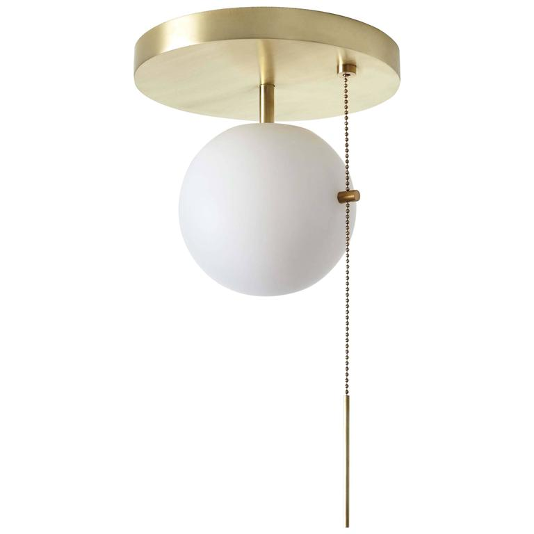 signal flush mount in brass with blown glass globe and pull chain. Black Bedroom Furniture Sets. Home Design Ideas