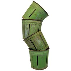 Set of four Green Painted Metal Bucket Measures
