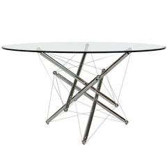 Italian Cassina Chrome and Glass Atomic Style Dining Table by Theodore Waddell