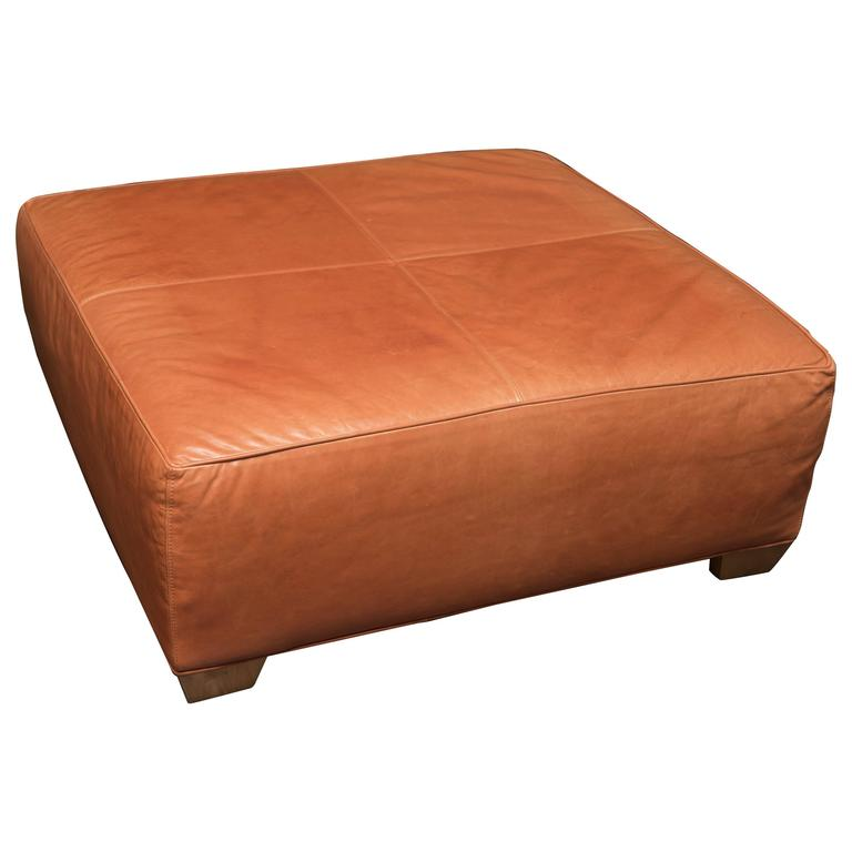 Tangerine Leather Ottoman For Sale