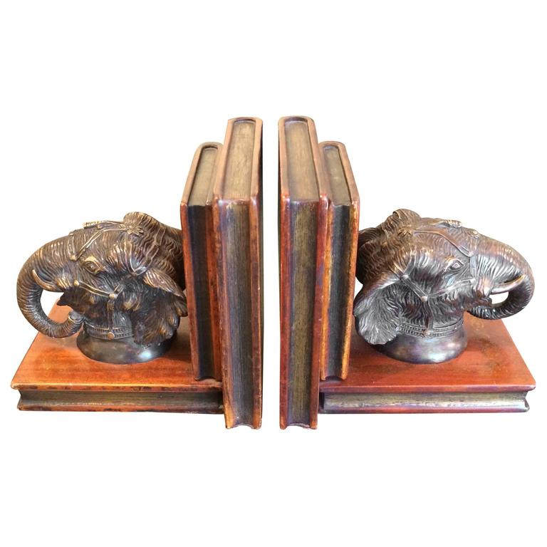 Masculine Leather and Bronze Elephant Motiffe Bookends