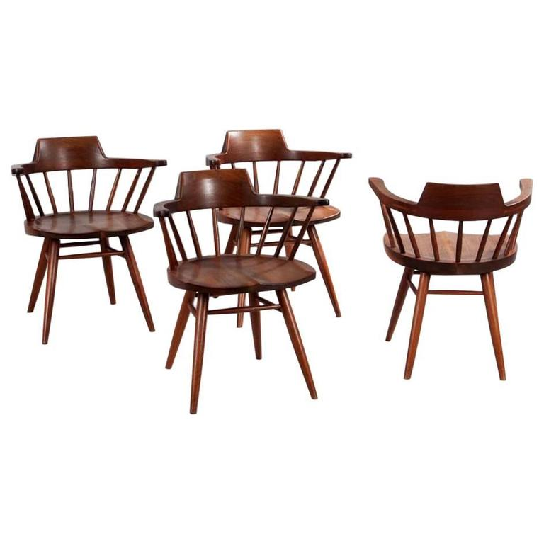 Set of Four Captain Chairs by George Nakashima For Sale