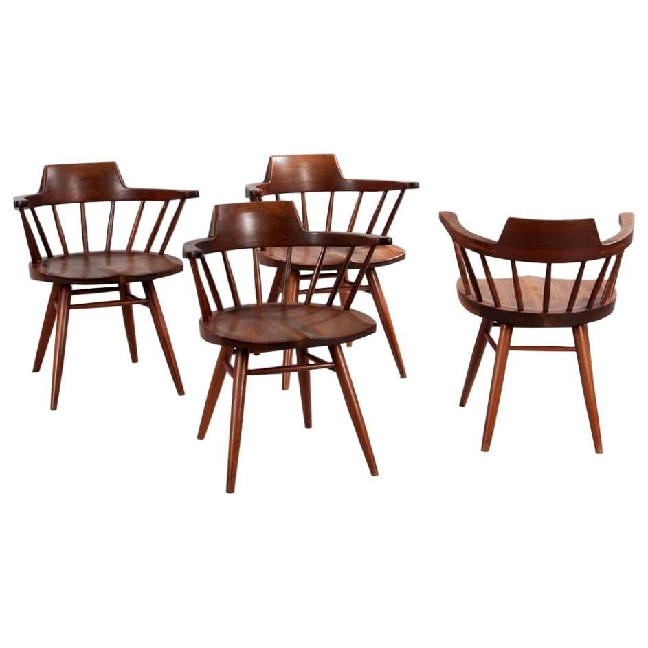 Set of Four Captain Chairs by George Nakashima