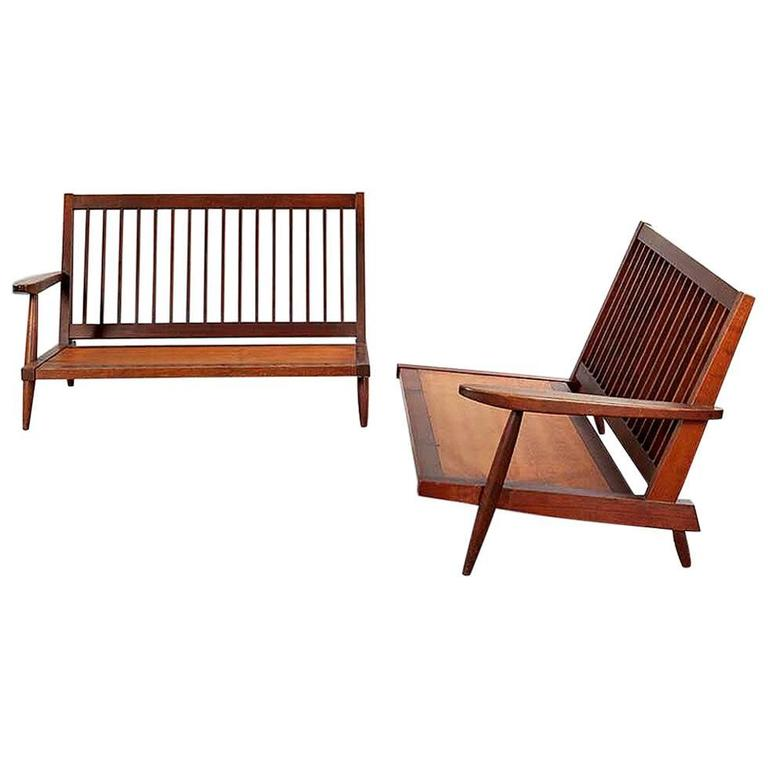 Early Two Sectional Walnut Settees by George Nakashima For Sale