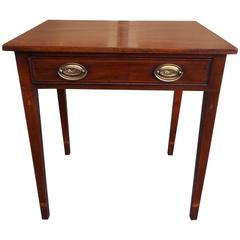 American Charleston Mahogany Inlaid Bell Flower Side Table, Circa 1790