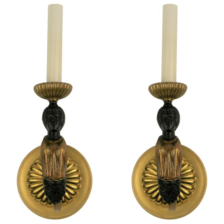 Pair of Figural Single Arm Sconce For Sale