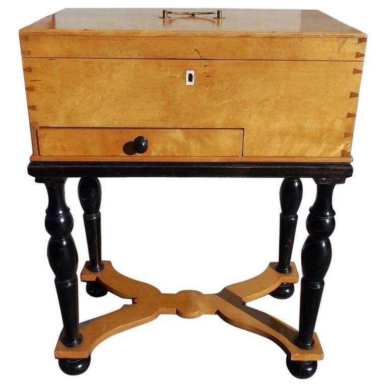 German Biedermeier Maple & Black Ebony Document Box on Stand, Circa 1810