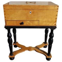 German Biedermeier Maple & Black Ebony Document Box on Stand, Circa 1810