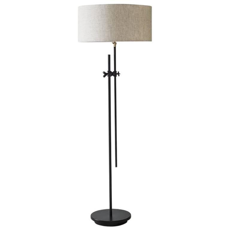 Workstead Shaded Floor Lamp in Black with Adjustable Stem and Linen ...