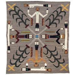 Vintage Navajo Yeibichai Sand Painting Rug or Pictorial Weaving, circa 1945