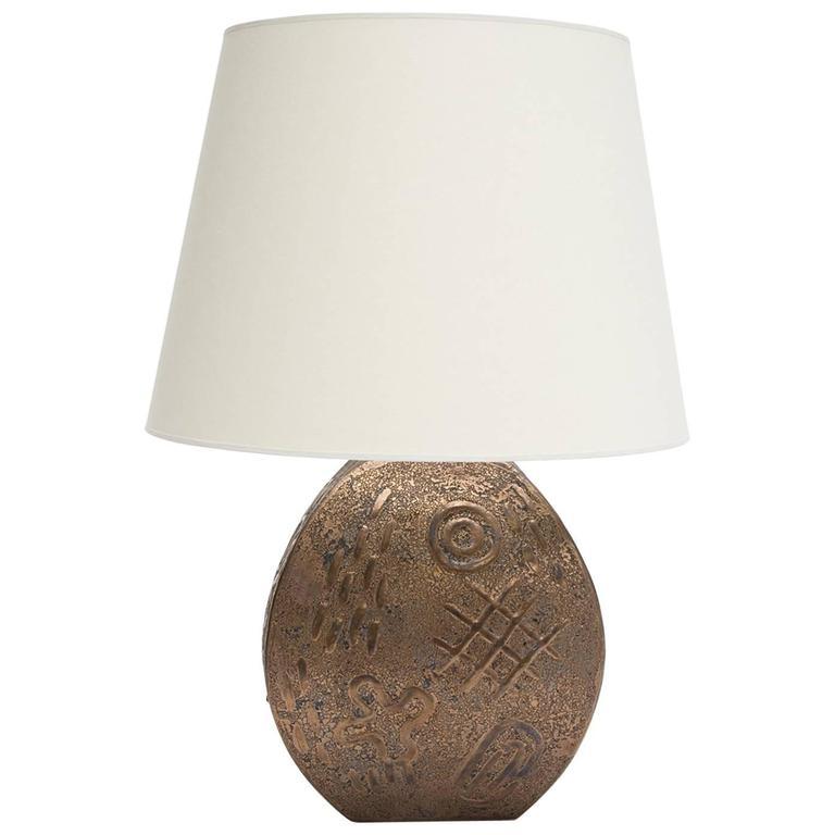 Hieroglyphic Bronzed Glazed Ceramic Table Lamp