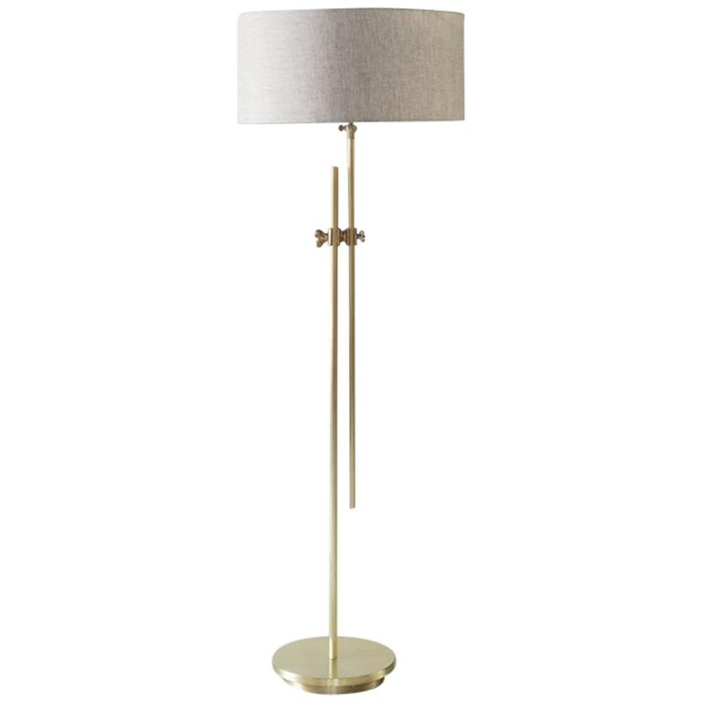 Workstead Shaded Floor Lamp in Brass with Adjustable Stem and Linen Shade