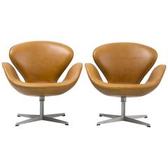 Set of Mid-Century Modern Swan Chairs by Arne Jacobsen Freshly Reupholstered
