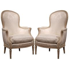 Midcentury French Louis XVI Carved Painted Armchairs with Jacquard Fabric, Pair