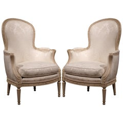 Pair of Midcentury French Louis XVI Carved Painted Armchairs with Upholstery