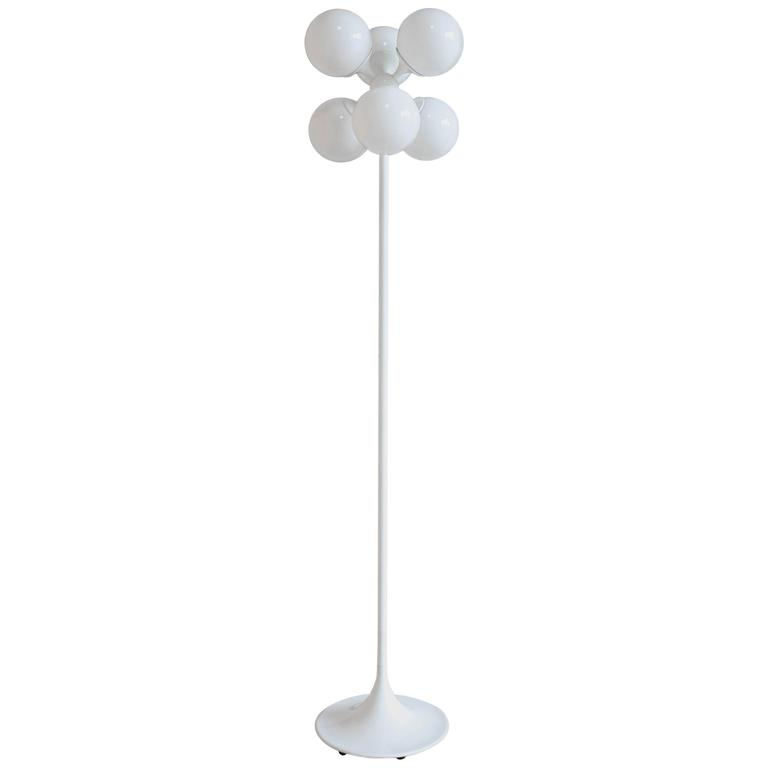 White Globe Floor Lamp by Lightolier