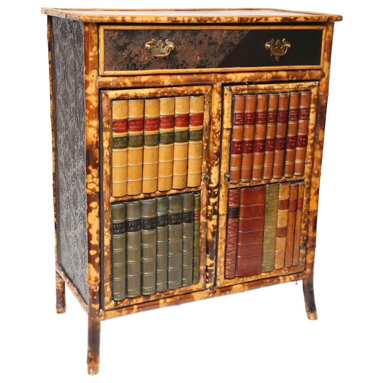 19th century english bamboo with faux front cabinet for for Bamboo kitchen cabinets for sale