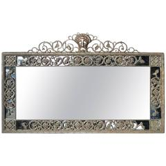 Oscar Bach 1920s Elaborate Bronze Wall Mirror