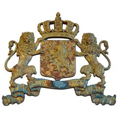 19th Century Painted Cast Iron Royal Crest