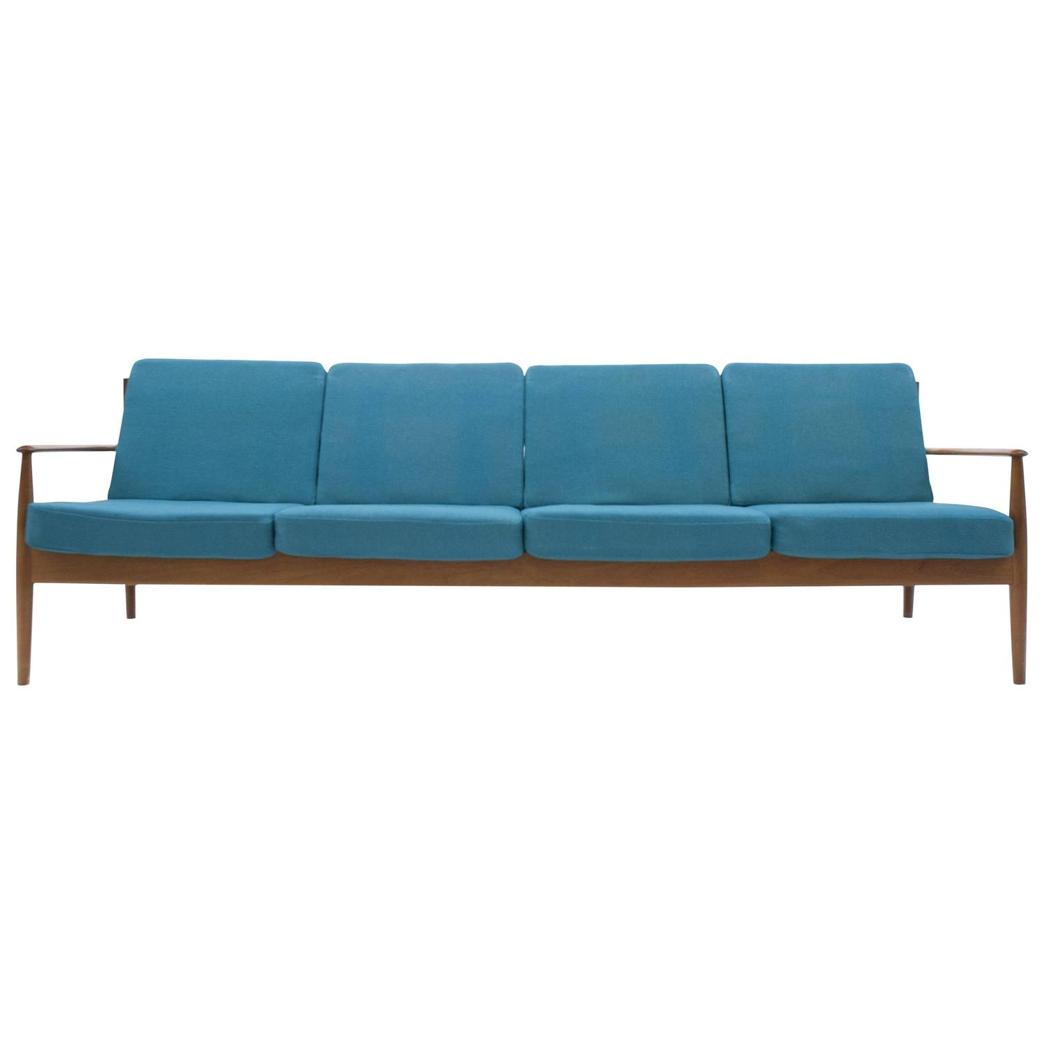 Danish modern classic grete jalk long four seat sofa for for Long couches for sale