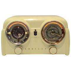 "1950s Art Deco Crosely Bakelite Tube ""Dashboard"" Clock/Radio"