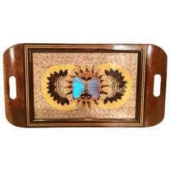 Mid-Century Brazilian Wood & Brass Inlay Pressed Butterfly Tray