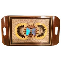 Mid-Century Brazilian Wood & Brass Pressed Butterfly Tray