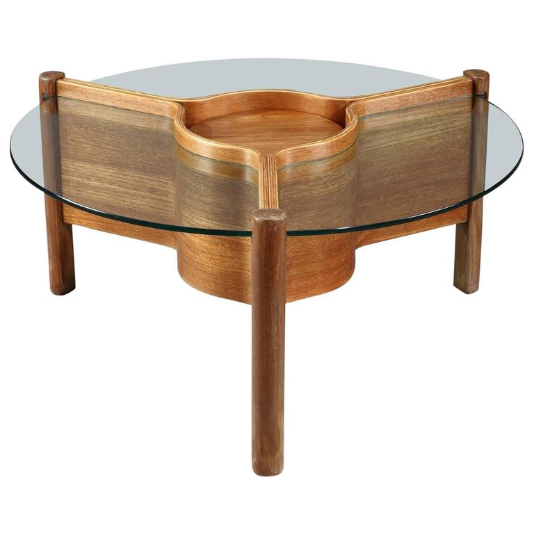 Coffee Table In Plywood And Glass By Nathan At 1stdibs