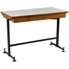 Desk with Drawers Mahogany Veneer Formica Metal Brass Vintage, Italy 1950s-1960s