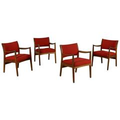 Group Four Chairs Stained Wood Foam Fabric Vintage Ufwa, Usa, 1960s