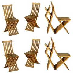 Group of Eight Natural Oak Folding Chairs by Studio Simon for Cassina