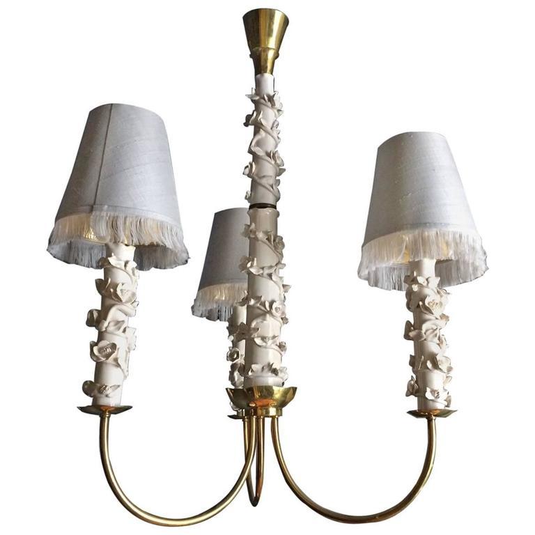 Unique ceramic and silk chandelier by luigi zortea 1948 for Unique chandeliers for sale